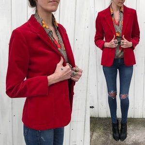 Vintage red velvet blazer